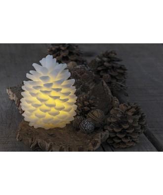 LED Pomme de pin blanche H14cm